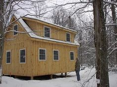 Adirondack Cabin Plans, 16'x24' with Cozy Loft and Front Porch, 1.5 Bath
