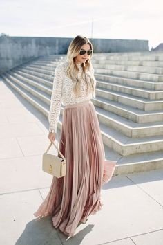 This outfit is so pretty & feminine … the gorgeous blush-pink of the pleated long skirt paired with the delicate white long-sleeve lace blouse,  beautiful | photos of Caitlin @ Dash Of Darling ~ x deb