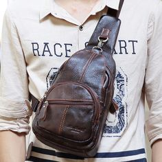 Genuine Leather Crossbody Bag Vintage Multi Pocket Shoulder Bag Chest Bag For Men