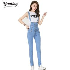 4dbf792652f Denim Dungarees Salopette for Women Rompers Womens Jumpsuit Conbinaison  Macacoes Feminino Longo Jeans Female Overalls