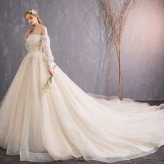 Apr 2020 - Audrey Hepburn Style Champagne Wedding Dresses 2019 A-Line / Princess Off-The-Shoulder Beading Sequins Pearl Lace Flower Sleeve Backless Royal Train Fancy Wedding Dresses, Fairy Wedding Dress, Making A Wedding Dress, Western Wedding Dresses, Wedding Dress Train, Luxury Wedding Dress, Backless Wedding, Princess Wedding Dresses, Lace Wedding