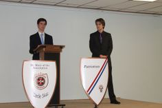 """Congratulations to seniors Leonard Morris and Sean Palmer who each received a """"Squire of the Body of Christ"""" award at St. Mary the Assumption Church in Glenshaw on Sunday, March 30, 2014. This prestigious award is the highest honor of the Columbian Squires."""