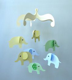 Elephant Baby Mobile/ Hanging Nursery Mobile by goshandgolly, $33.00