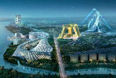 Modern Architecture - A Magnificent Urban Plan Proposal: Ansan City, South Korea - My Modern Metropolis Architecture Office, Futuristic Architecture, Beautiful Architecture, Seoul, Big Architects, 3d Fantasy, Unique Buildings, Modern Metropolis, Modern City