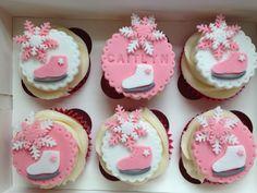 Ice skating cupcakes Ice Skating Cake, Ice Skating Party, Skate Party, Daisy Cupcakes, Cupcake Cakes, Birthday Parties, Birthday Cake, 7th Birthday, Ice Ice Baby