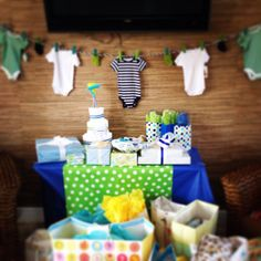 Golf theme baby shower decorations and gift table set up