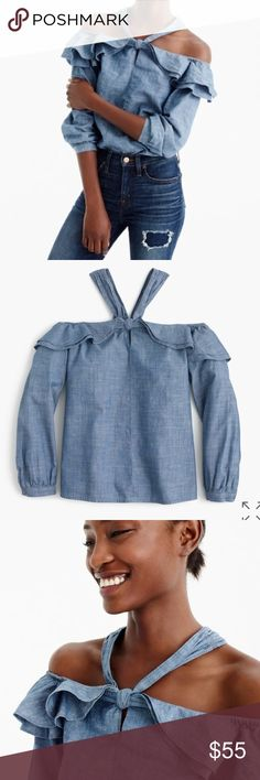 """J.Crew off the shoulder top Body length: 25"""". runs slightly large based on reviews  Your favorite off-the-shoulder top, now with a tie at the neck for a fun take. Cotton. Machine wash. 🚫No trades J. Crew Tops Blouses"""