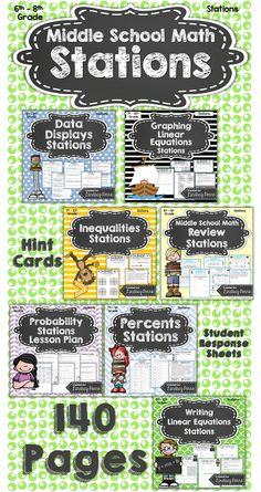 {Best Seller} Stations are not just for Elementary School! Middle school students thrive when given the chance to work together and move about the classroom! Each station includes question sheets, student answer pages and Hint Cards. The 7 stations in this packet are: Middle School Math Review Stations Probability Stations Lesson Plan Data Displays Stations Writing Linear Equations Stations Graphing Linear Equations Stations Inequalities Stations Percents Stations