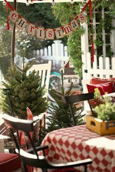 Christmas porch by lucia and mapp Christmas Porch, Merry Little Christmas, Outdoor Christmas Decorations, Primitive Christmas, Christmas Love, Country Christmas, Winter Christmas, All Things Christmas, Vintage Christmas