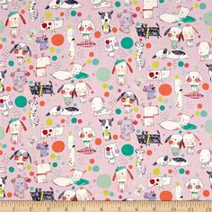Alexander Henry Monkey's Bizness Puppy Polka Dot Berry from @fabricdotcom  From the DeLeon Group for Alexander Henry, this cotton print fabric embodies the dog spirit with playful pups in bright colors. Perfect for quilting, apparel and home decor accents. Colors include periwinkle, lavender, white, shades of green, blue, red, orange, lime green, coral and peach.