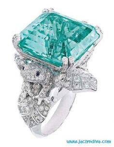 Van Cleef & Arpels ring with a 21.77-carat tourmaline and diamonds.