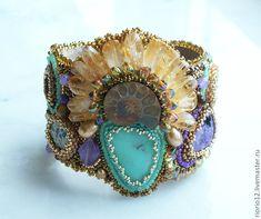 ☮ American Hippie Bohemian Style ~ Boho Lemurian Princess Bracelet, bead embroidery