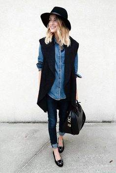 Try it with Hat this Time   Try These 25 Chic Sleeveless Blazer Outfits In Every Season   Sleeveless Blazer Outfits   Fenzyme.com