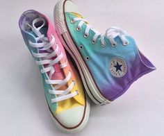 Pastel Rainbow Tie Dye High Top Custom Converse www.fashionnewswe… Pastel Rainbow Tie Dye Converse by IntellexualDesign on Etsy Converse Noir, Tie Dye Converse, Outfits With Converse, Converse All Star, Rainbow Converse, Pastel Converse, Pastel Shoes, Rainbow Shoes, Converse High Tops Colors