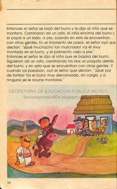 """Libros de escuela en español. Historia """"el señor, el niño y el burro"""" 2/2"""