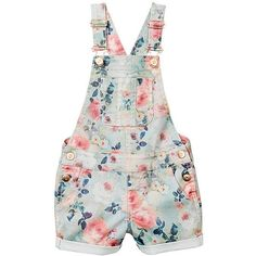 Girls' Floral Denim Overalls Target Australia ($18) ❤️ liked on Polyvore featuring kids, girls, playsuits, shorts and baby