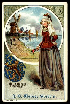 """ca.1900 - """"German Tradecard - Dutch Lady in Costume"""" (Holländische Fauentracht) by cigcardpix 