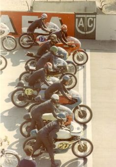 Vintage Motorcycle Road Racing Start Line...