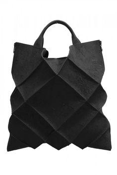 Black Leather & Putty Geometric Tote Bag from Kagari Yusuke - unconventional