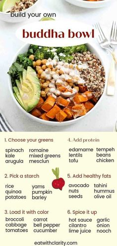 This sweet potato buddha bowl is an easy and delicious way to pack a lot of nutrition, flavor, and antioxidants into one bowl. Plus, a step by step guide for how to make a buddha bowl! meals for the week Sweet Potato Chickpea Buddha Bowl (Vegan) Healthy Snacks, Healthy Eating, Healthy Recipes, Eating Clean, Health Food Recipes, Vegetarian Recipes Dinner, Health Tips, Most Healthy Foods, Lunch Ideas Vegan