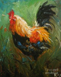 Print from oil painting Rooster 430 by Roz Rooster Painting, Rooster Art, Chicken Painting, Chicken Art, Oil Painting Pictures, Pictures To Paint, Chickens And Roosters, Galo, Animal Paintings