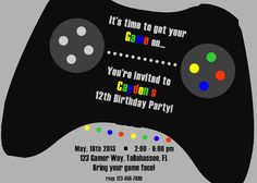 Gamer Gaming Printable Birthday Invitation By InviteMeToTheParty 1095