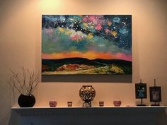 Beautiful Starry Night Painting, Night Sky Paintings, Hand Painted Can Canvas Painting Landscape, Hand Painting Art, Abstract Landscape, Hand Painted Canvas, Canvas Wall Art, Night Sky Painting, Textured Canvas Art, Artwork, Oil Paintings
