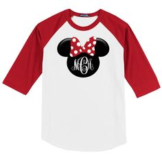 Disney Minnie Mouse 3/4 Sleeve Baseball Shirt w/Monogram Initials