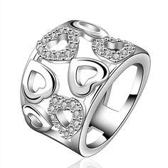 Gratis Verzending Nieuwe Collectie! verzilverd ringen voor vrouwen hart gewoon sprial ring mannen bruiloft decoratie