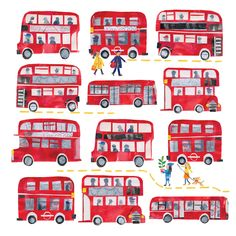 Red London Buses by Tracey English London Illustration, Children's Book Illustration, Bus Drawing, Bus Crafts, London Souvenirs, Children Sketch, Routemaster, Travel Sketchbook, Penguin Art