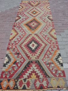 "oooh something like this for by the front door!  ANATOLIAN TURKISH AYDIN KILIM RUG RUNNER CARPET 124"" X 35,4"" 