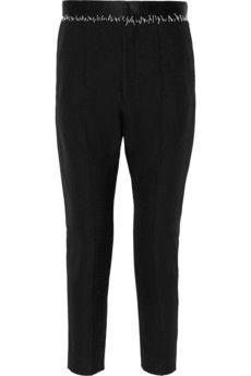 Haider Ackermann Satin-trimmed wool tapered pants   NET-A-PORTER