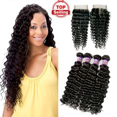 Top 7A Grade Brazilian Deep Wave with Closure 4bundles with lace closure Brazilian Deep Curly Virgin Hair Natural Black Dyeable Hair Weave  http://www.dhgate.com/product/top-7a-grade-brazilian-deep-wave-with-closure/381331031.html WHATS APP:+8615893715053