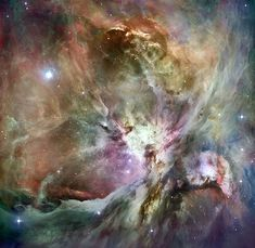 This is the Orion Nebula.  Awesome art created by God. I found this image at WikiCommons but it wasn't showing up, so I gave it a different url.