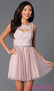 Buy Short Sleeveless Sequin Hearts Dress 2615TU1P with Lace Bodice at PromGirl