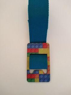 Blue Women textile belt with multicolor printed bricks theme wooden buckle Modern Man, Joyful, Bricks, Biodegradable Products, Creative Design, Vibrant Colors, Fox, Handmade Items, Textiles