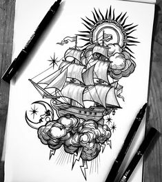 Esme Baker Tattoo on Pencil Art Drawings, Art Drawings Sketches, Tattoo Sketches, Tattoo Drawings, Cool Drawings, Body Art Tattoos, Boat Tattoos, White Tattoos, Ankle Tattoos