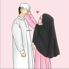 Muslim Pictures, Islamic Pictures, Cute Muslim Couples, Cute Couples, Hijab Drawing, Islamic Cartoon, Muslim Family, Anime Muslim, Hijab Cartoon