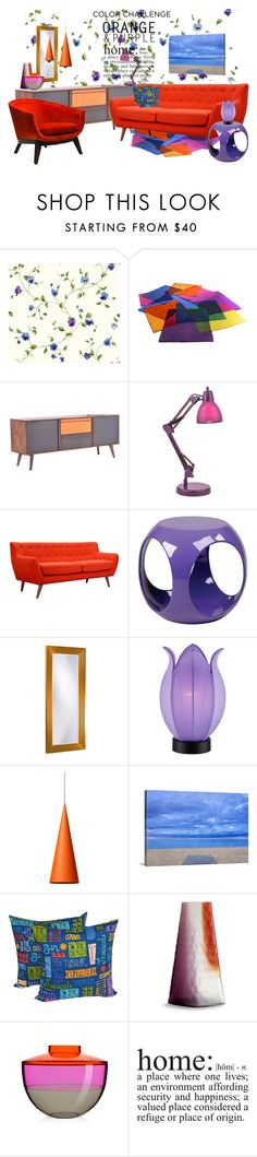 """""""Home .Orange and purple"""" by no-where-girl ❤ liked on Polyvore featuring interior, interiors, interior design, home, home decor, interior decorating, York Wallcoverings, Dot & Bo, Lite Source and Office Star"""