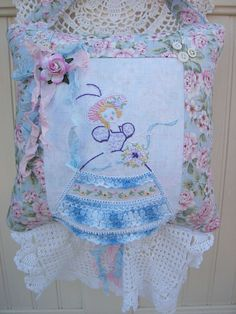 Pillow With Vintage Embroidery And Crochet-pillow,vintage,doily,lace,ribbon,embroidery,crochet,linen,handmade,pink,ribbons,blue,keepsake,cotton,fabric,paper,rose,repurpose