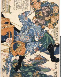Heavily tattooed Byotaichu Setsuei,+ Shosharan Bokushun holding him by the hair by Kuniyoshi #suikoden #108heroes #kuniyoshi #samurai1nk #woodblockprint #irezumi #inked #traditionalink by samurai1nk https://www.instagram.com/p/BF-q0duCiOU/