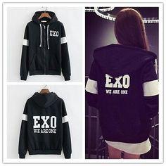 Korea Hot Team We are one Black Zip Hoodies Jacket Coat Kpop Fashion, Korean Fashion, Kpop Outfits, Cute Outfits, Shorts E Blusas, Exo Merch, Kim Minseok, Kpop Exo, Looks Cool