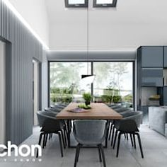 Modern dining room by archon+ projekty domów modern Kitchen Units, Modern House Design, Home And Family, Modern Living, Dining Room, Interior Design, Table, Inspiration, Furniture