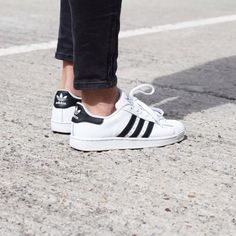 Navy blue striped white ADIDAS shell tops + ankle length dark denim