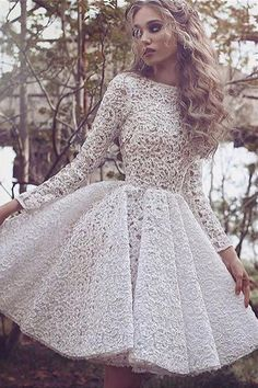 A-line Bateau Knee-length Ivory Long Sleeves lace Dress...waist seam, high neck, full skirt, cocktail, midi