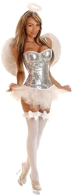 Sequin Corset Angel Costume with Feather Wings, Petticoat and Halo for $85.00 (available up to size 2X) I would wear different heels though;)