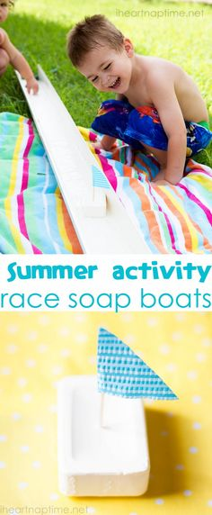 This is such a fun summer activity! Have a boat race with bars of soaps and a rain gutter. #summer #kids