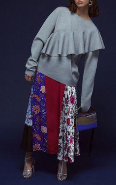 Diane von Furstenberg R18 - Draped Ruffle Pullover €450, Bias Draped Paneled Skirt €396