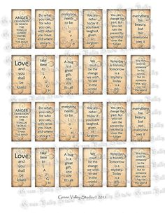 INSTANT DOWNLOAD Digital Images Collage Sheet Inspirational Sayings Phrases Love Laugh Hug 1 x 2 Inc