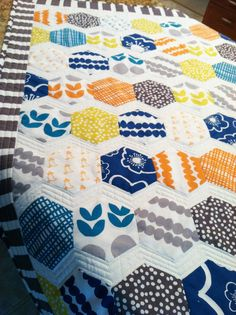 """The Zig and Zag of Hexies: 29"""" x 40"""". English paper piecing with 2"""" paper hexagons. Very modern looking! Pattern # CLPDKR003"""
